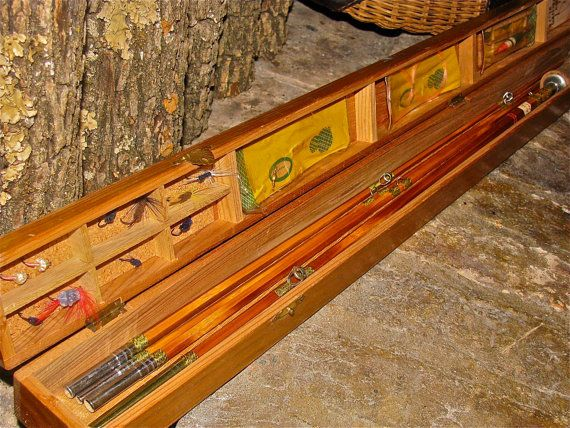 Vintage Bamboo Fly Fishing Rod And Wooden Box Case Fishing Fly