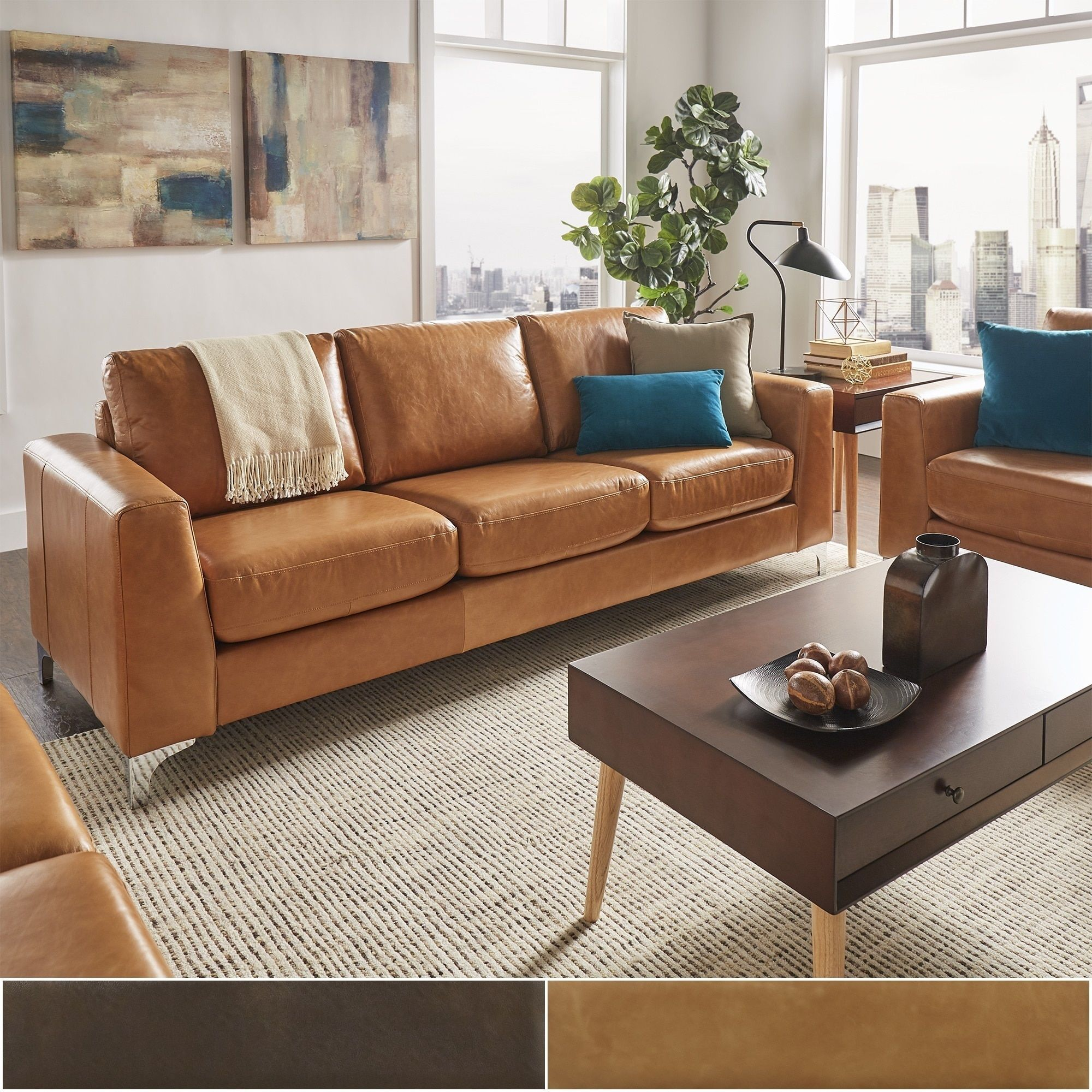 Bastian Aniline Leather Sofa By Inspire Q Modern Caramel And Loveseat Set Orange Faux