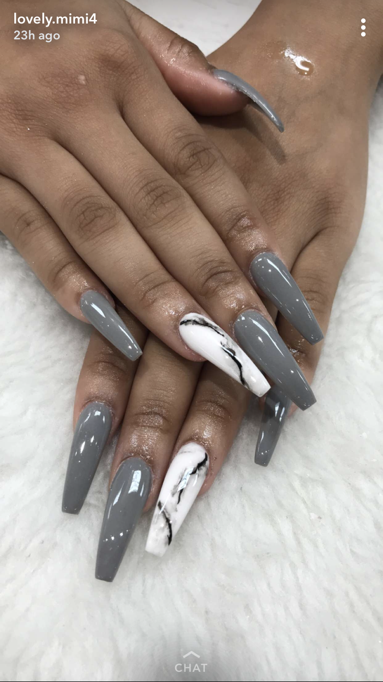 grey & white and grey marble nails | Trendy nails, Coffin ...