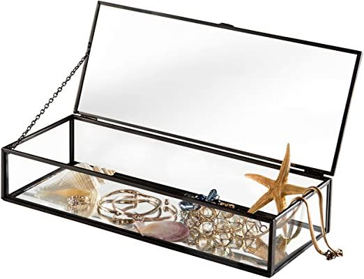 Vintage Style Black Metal Clear Glass Mirrored Shadow Box Jewelry Display Case W Hinged Top Lid In 2020 Jewelry Display Case Jewelry Mirror Glass Display Box