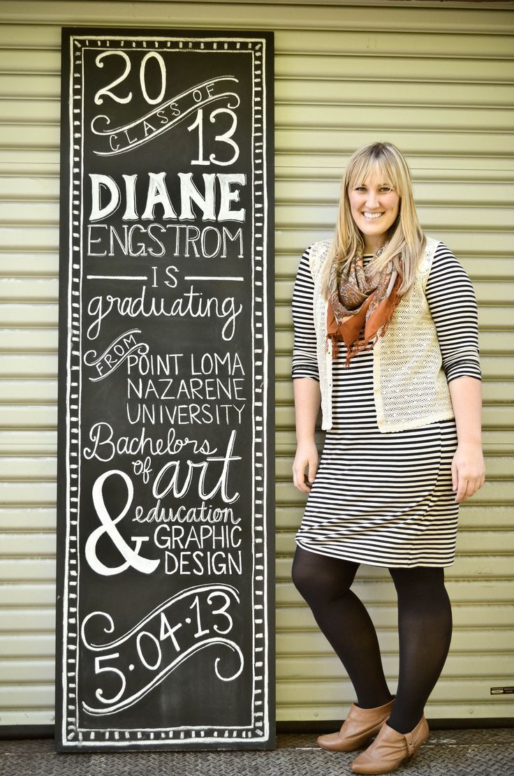 chalk typography graduation announcement for grow ups - Graduation Invitations Pinterest