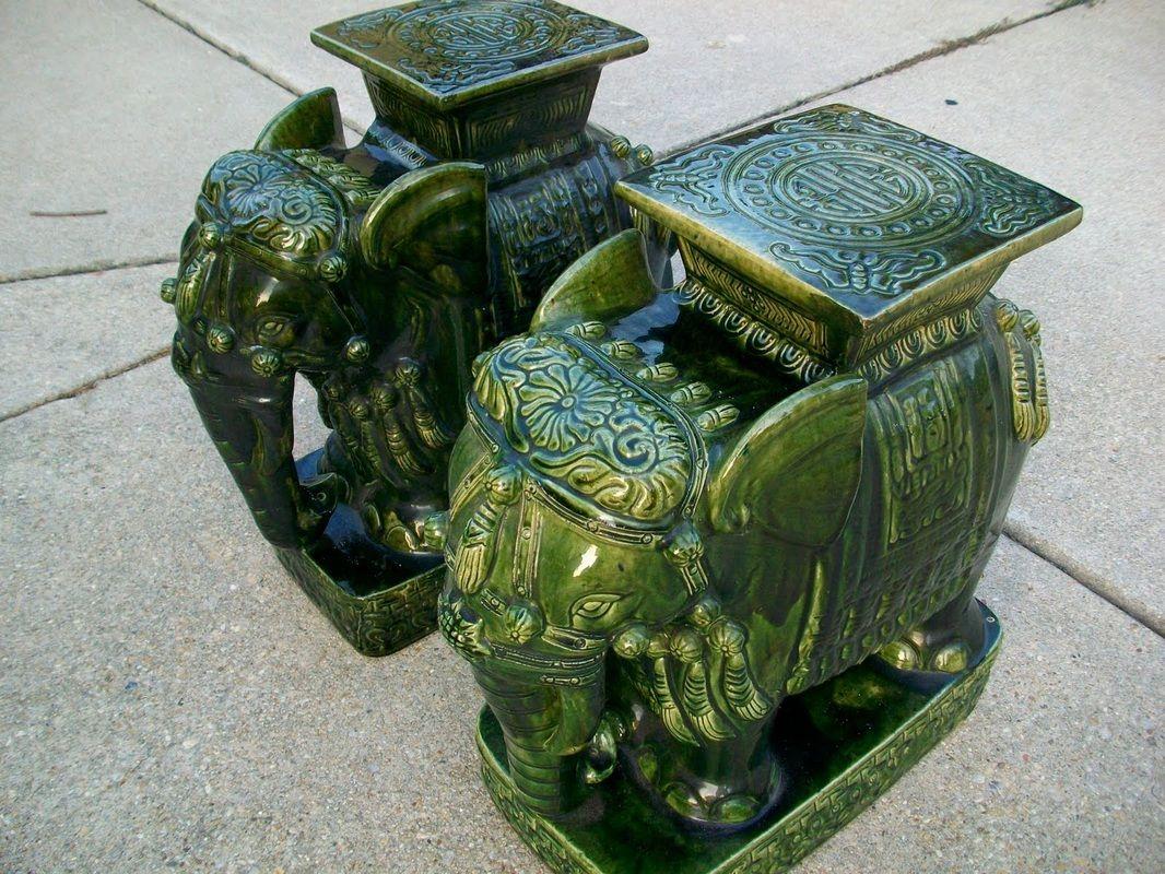 Green Elephant Garden Stools.