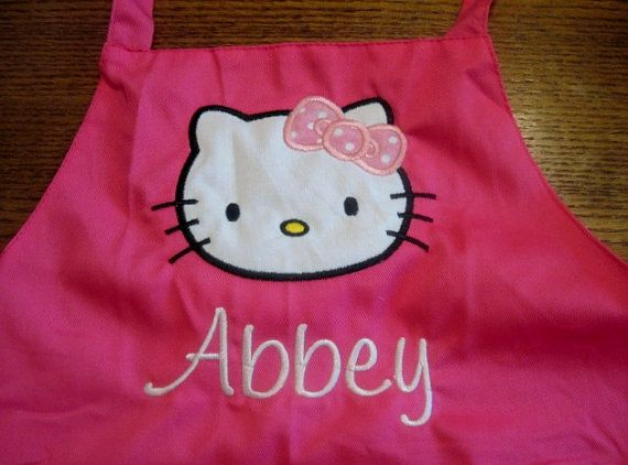 Child's Embroidered Kitty Apron Personalized For by CaneyBoutique, $15.00