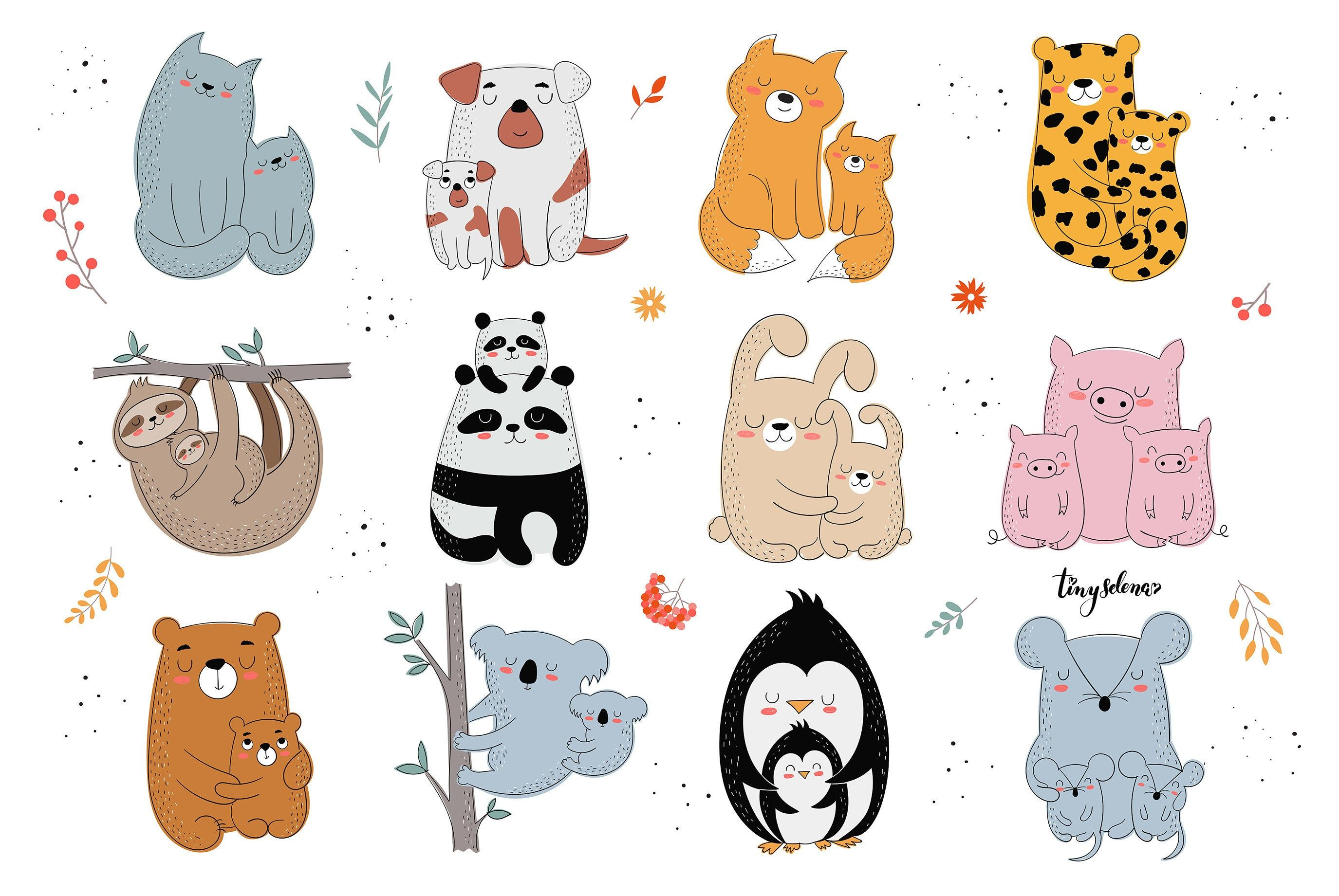 Mother S Day Clipart Cute Animal Families By Tinyselenaart On Etsy Mother And Baby Animals Baby Animal Drawings Baby Drawing