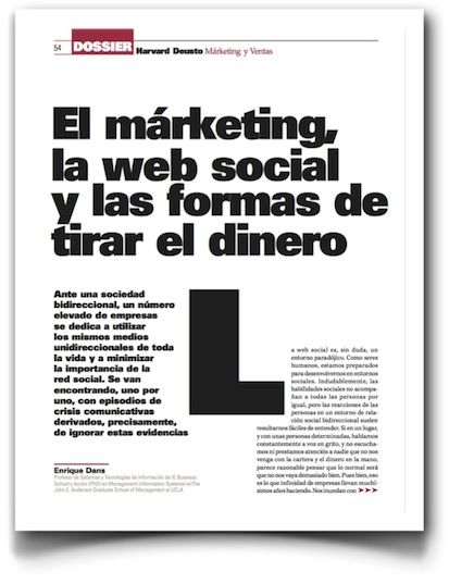 """El marketing, la web social y las formas de tirar el dinero"", artículo en Harvard Deusto Marketing y Ventas"