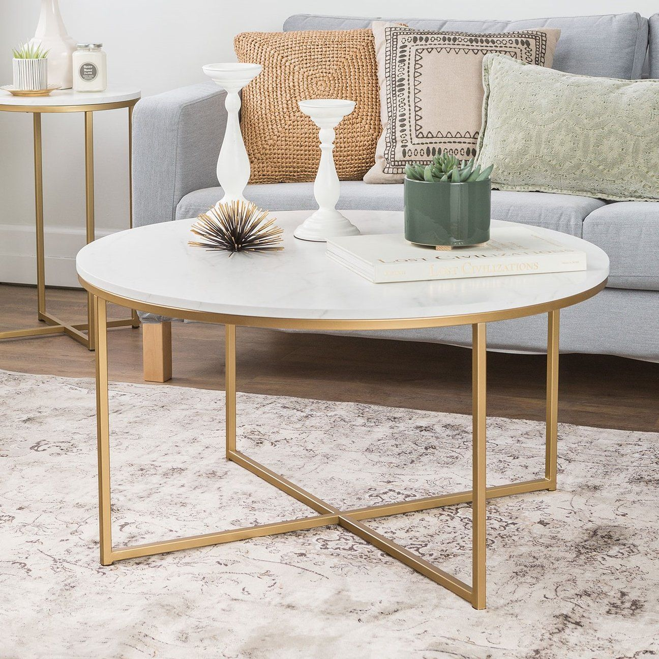Alissa coffee table faux marble coffee table round
