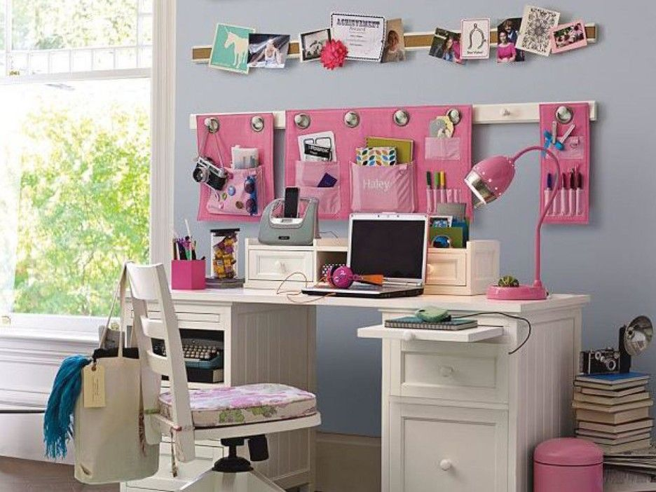Exceptional Teen Bedroom Desks : Teen Room Decoration Using White Desk And Chair  Combine With Pink Goose