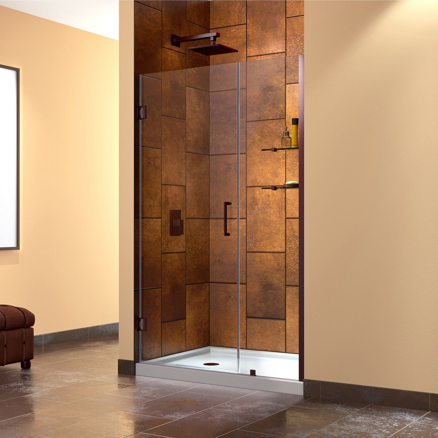 DreamLine Unidoor 42-inch Min to 43-inch Max Frameless Hinged Shower ...