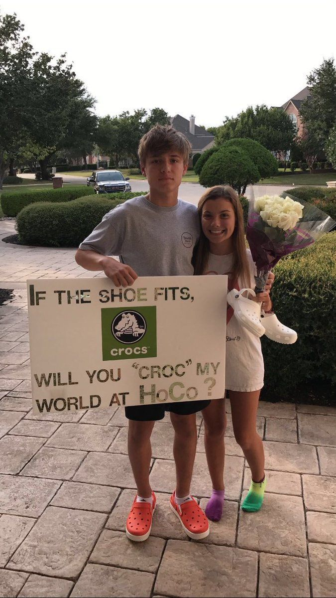 Crocs do make the world better!! Hahaha #prompicturescouples #promproposal