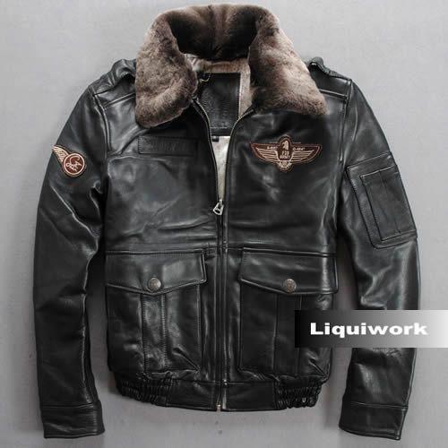 Men Black Cowhide Leather Lamb Fur US Air Force Army Bomber Jackets  SKU-116137 b7159b59c15