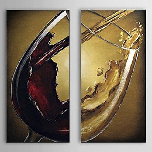 Unitary Modern Stretched 100% Hand-painted Still Life Wine Glass Set ...