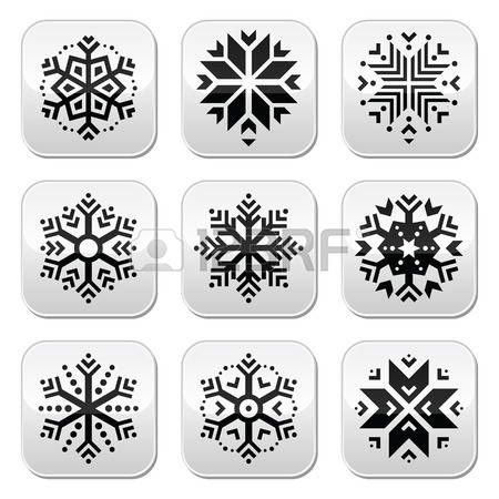Snowflakes buttons set on black and white background  photo