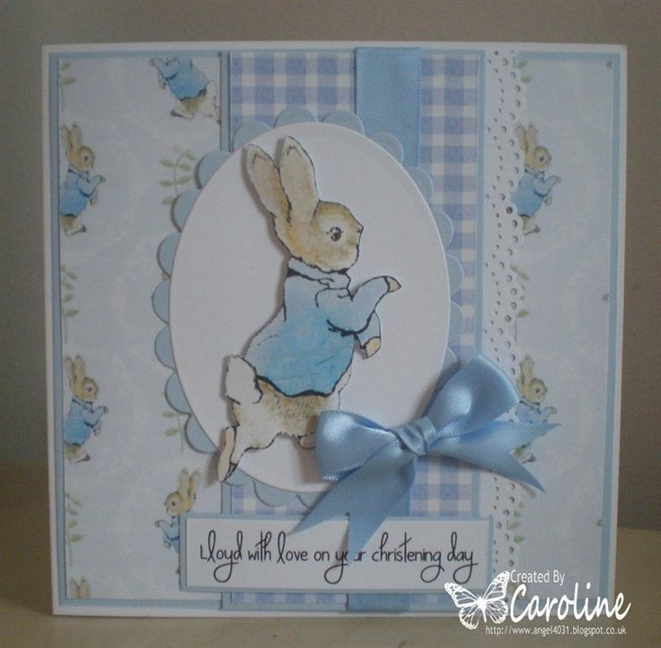 Baby Card Making Ideas Part - 41: Peter Rabbit Christening Card By: