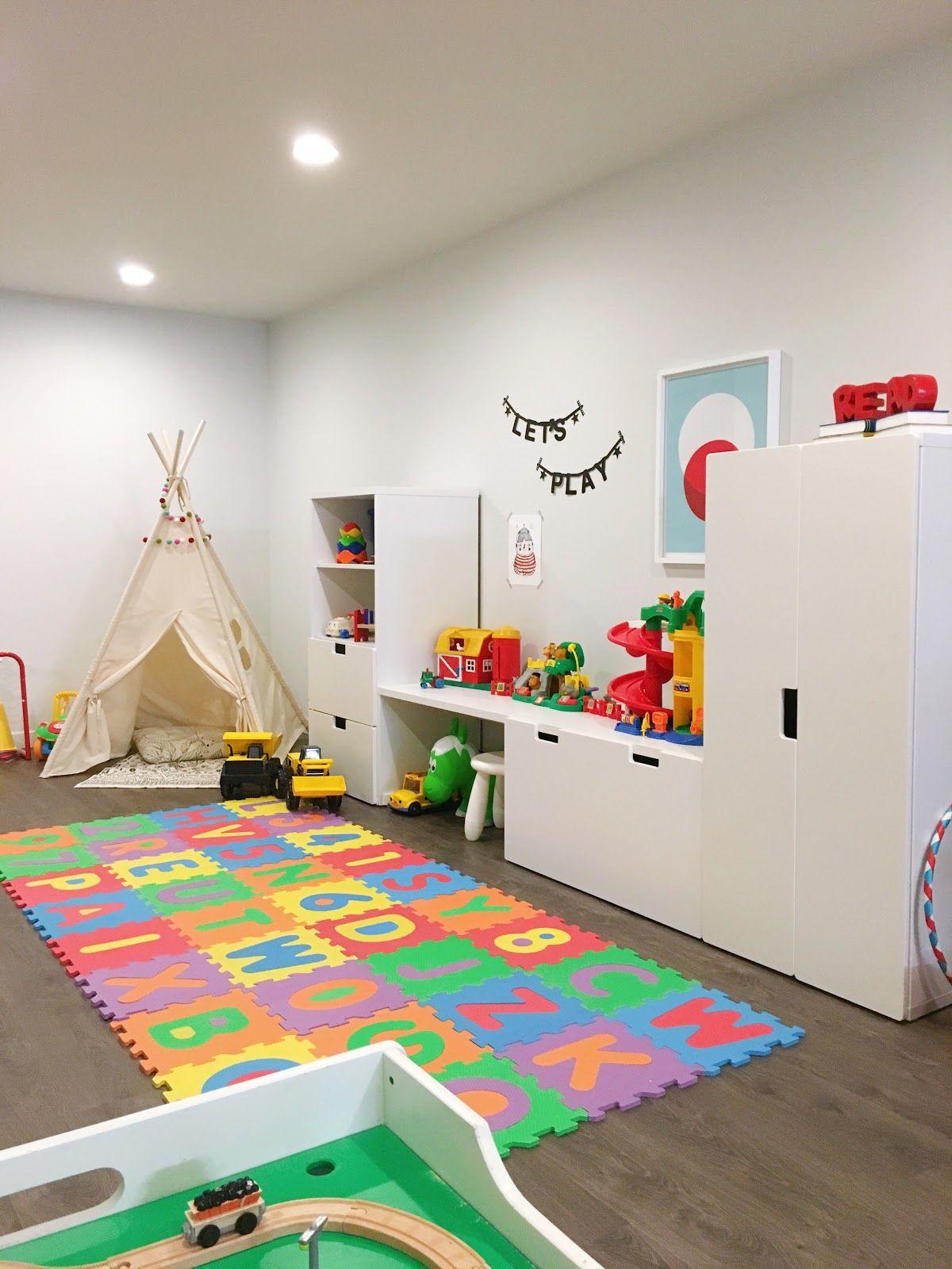 Playroom with ikea stuva system kids 39 rooms pinterest playrooms room and kids rooms - Ikea playroom ideas ...