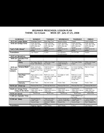 sample preschool lesson plan
