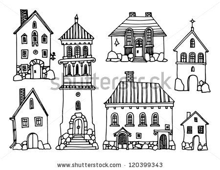 cartoon hand drawing houses by astudio via shutterstock kreidemarker vorlagen pinterest. Black Bedroom Furniture Sets. Home Design Ideas