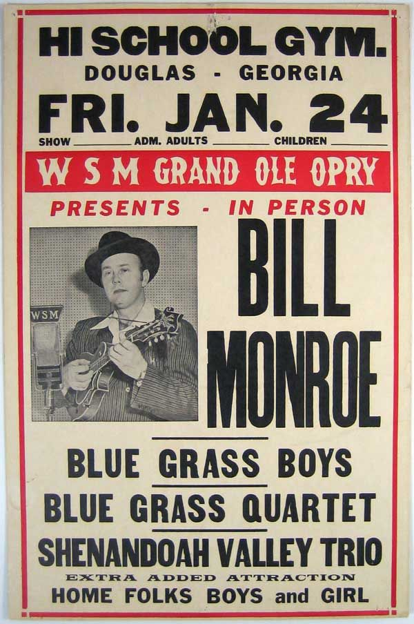 Bill Monroe Flyer Oldskool Concert Posters Bill Monroe Old Country Music