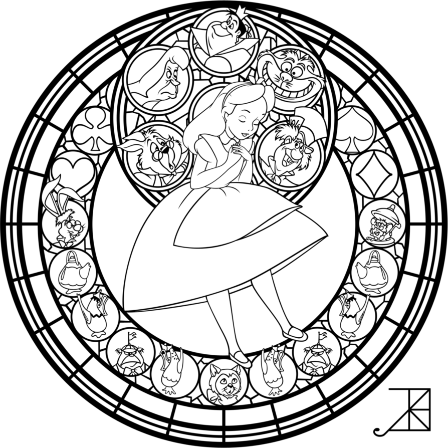 Alice Stained Glass Redo Line Art By Akili Amethyst On Deviantart Coloring Pages Disney Coloring Pages Free Coloring Pages