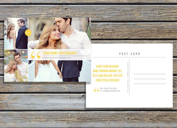Digital Photo Card Template  Premade Postcard Design For