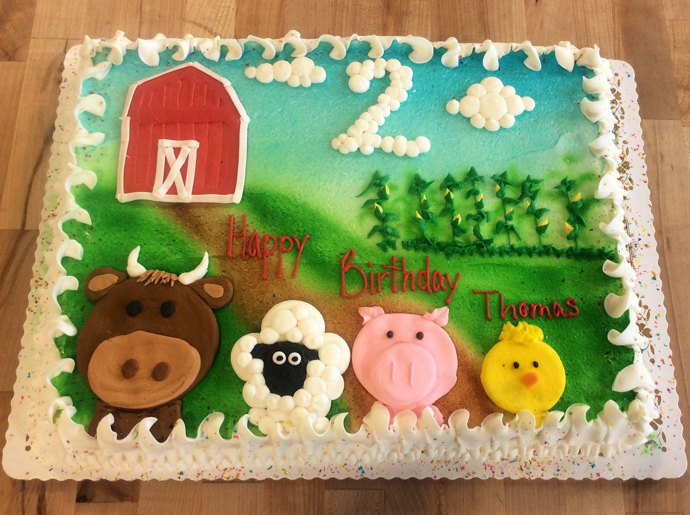 Sheet Cake With Barn And Farm Animals With Images Barnyard