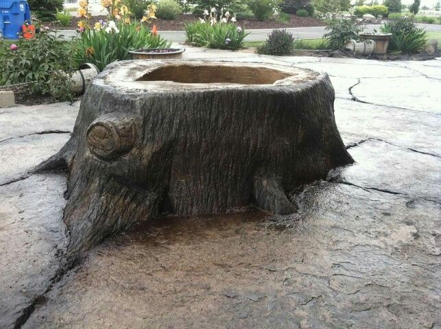 Tree Stump Fire Pit Made From Concrete Stump Fire Pit Fire Pit Essentials Fire Pit Backyard