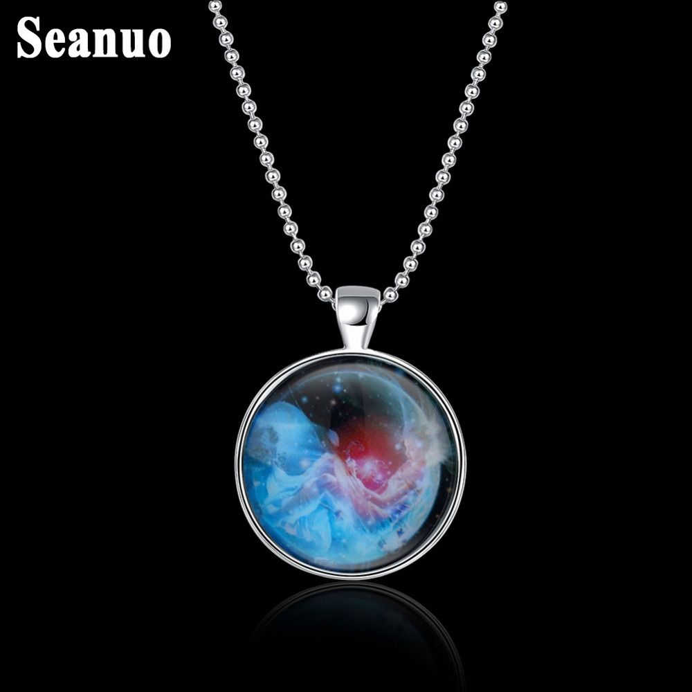 Seanuo luminous scorpio necklaces zodiac constellation pendant