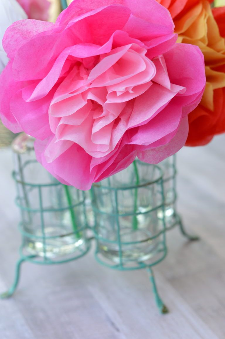Make your mom a special gift a bouquet of tissue paper flowers for