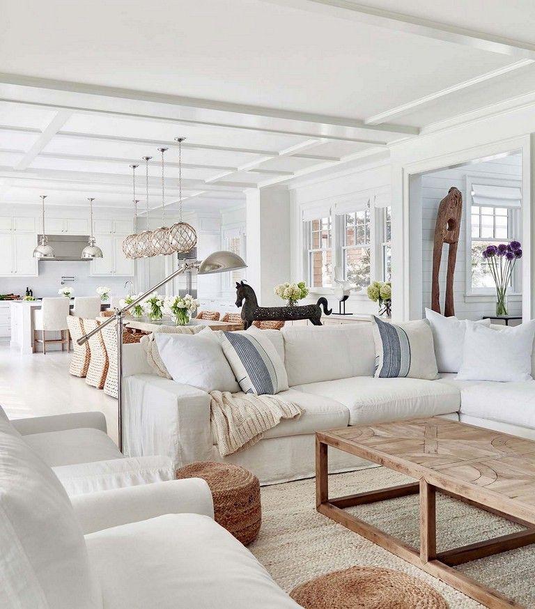 41 Stunning White Beach House Design Ideas For Life Better 24 Decoratifo Com In 2020 Farm House Living Room Beach House Interior Design Coastal Living Rooms