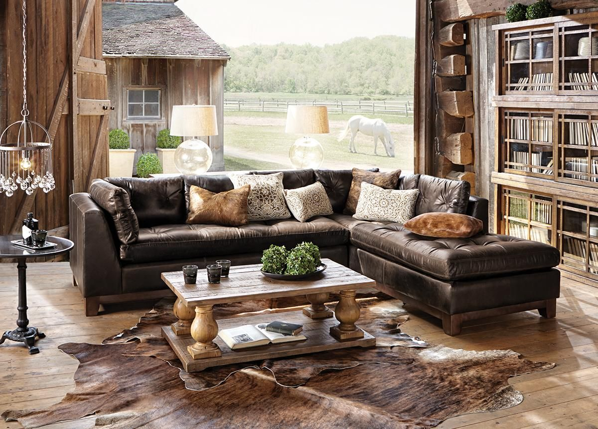 Garner 118 Two Piece Leather Tufted Sectional In Libby Espresso