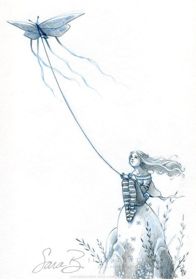 Golden Kite Original Pencil Sketch By Sarambutcher
