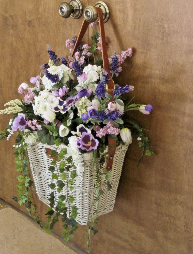 Silk Arrangement Hanging Wall Door Picnic Basket ... on Decorative Wall Sconces For Flowers Hanging Baskets Delivery id=13990