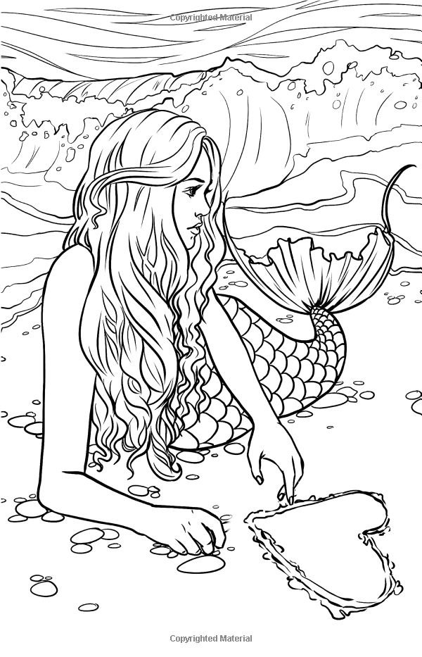 mermaid adult coloring pages Artist Selina Fenech Fantasy Myth Mythical Mystical Legend Elf  mermaid adult coloring pages