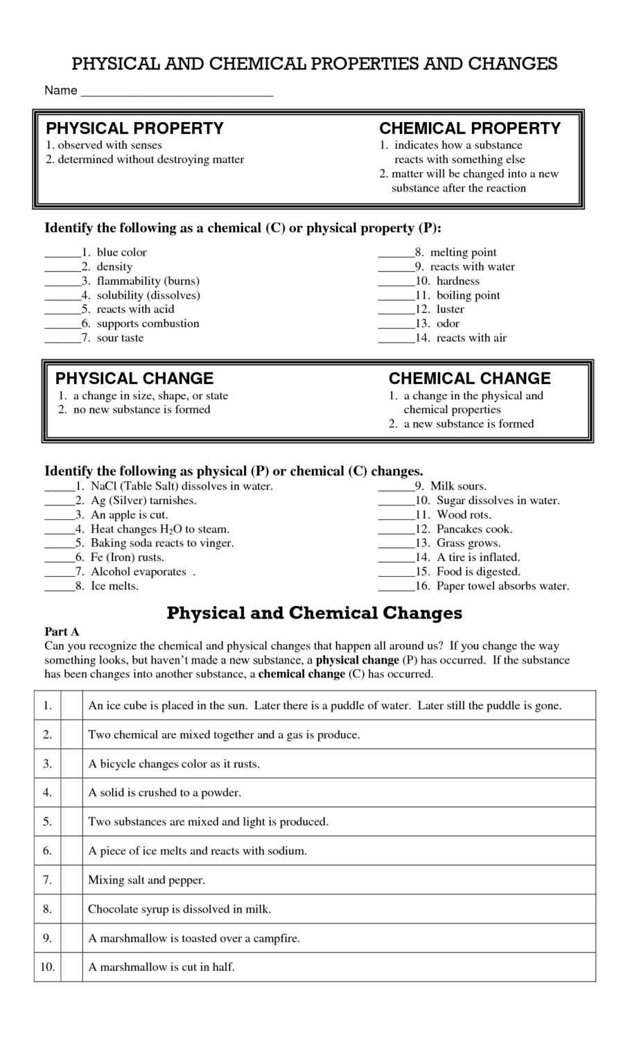 Proficiency Worksheet Physical And Chemical Changes