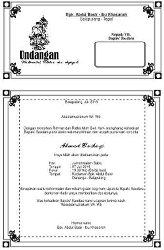 Undangan Aqiqah Dan Khitanan : undangan, aqiqah, khitanan, Undangan, Walimatul, Khitan, Aqiqah, Ahmad, Baihaqi, Microsoft, Office, Word,, 2010,