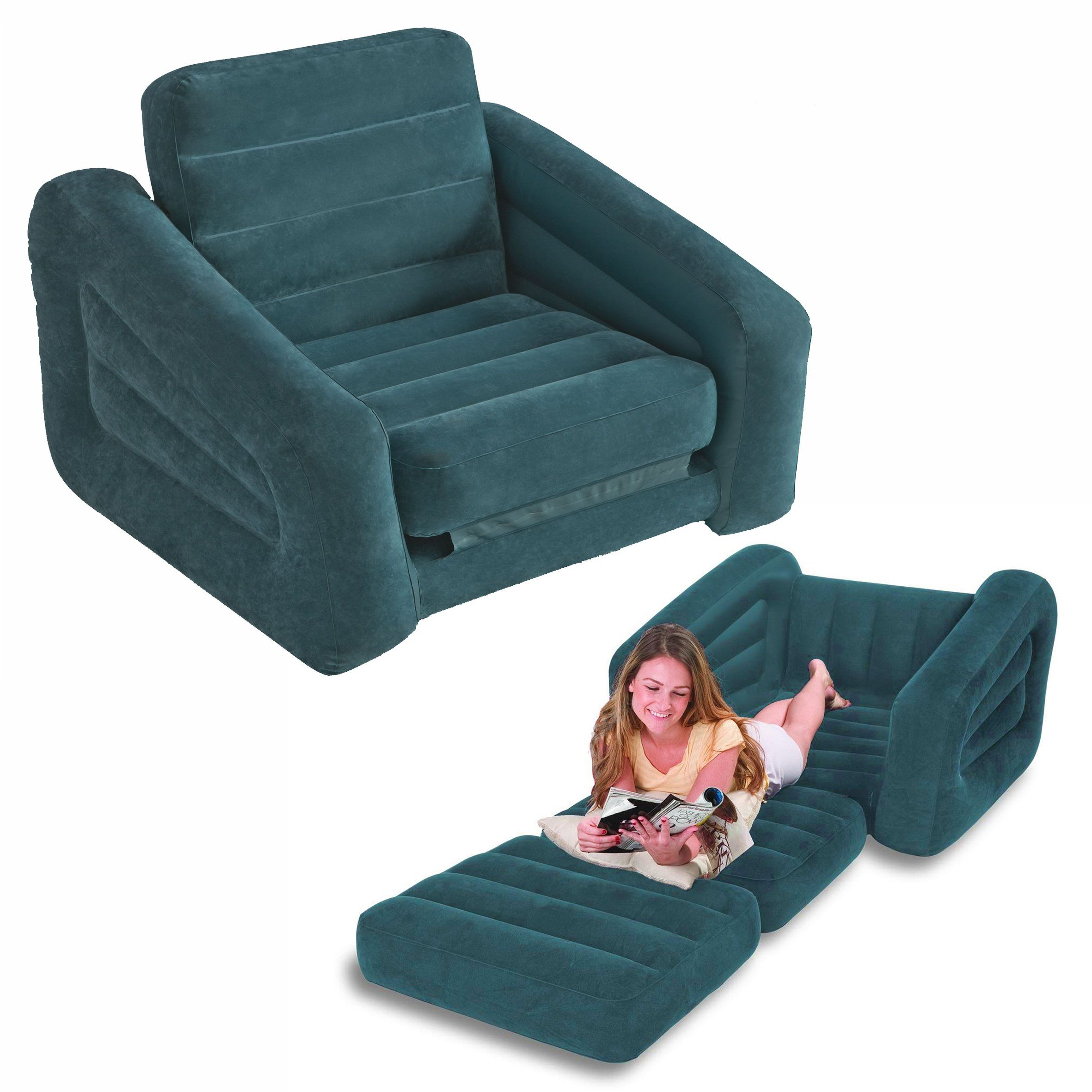 intex inflatable sofa set of two pieces simply shabby chic cotton duck slipcover one person pull out chair bed