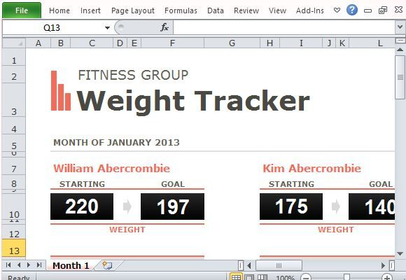 Group Weight Loss Tracker Template For Excel  Excel Templates