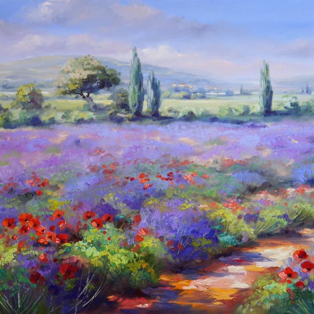 Lavendelfelder Sind Jedesmal Eindrucksvoll Es Gibt Eine Sehr Kurze Zeitspanne In Der Man Mohn Und Lavendel Zusammen Erleben Kann Da In 2020 Malerei Gemalde Aquarell