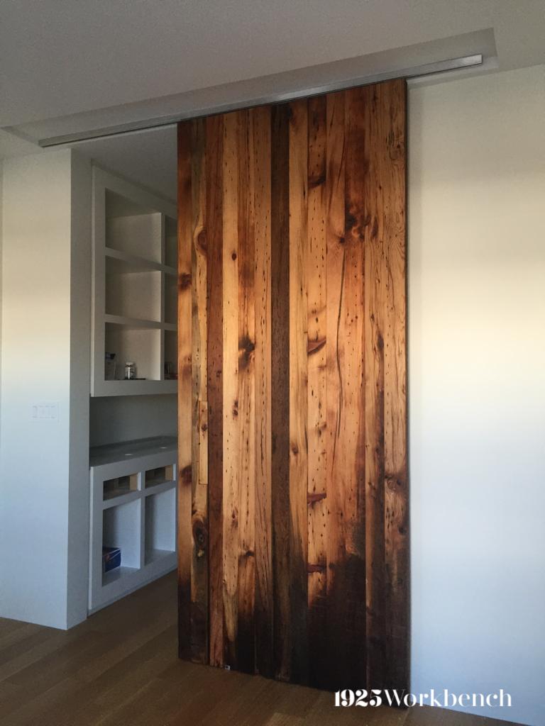 Reclaimed Wood Slab Door Barn Doors Tall Cabinet