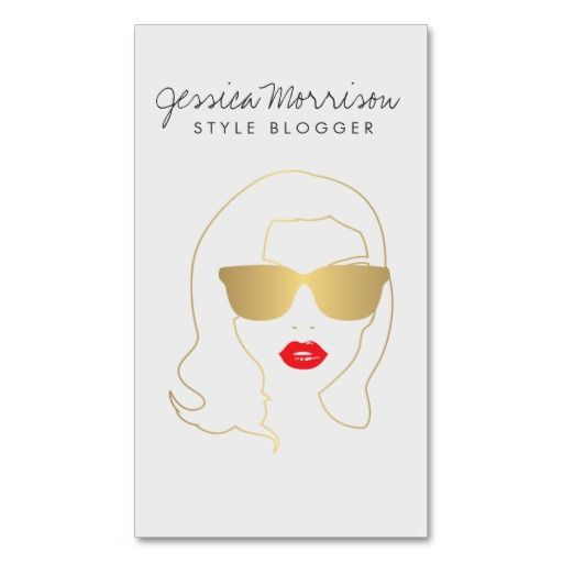 A bold, faux metallic gold and white illustration of a girl with red lips and big sunglasses becomes an eye-catching mascot on this stylish business card for hair salons and stylists. Illustration and design © 1201AM CREATIVE