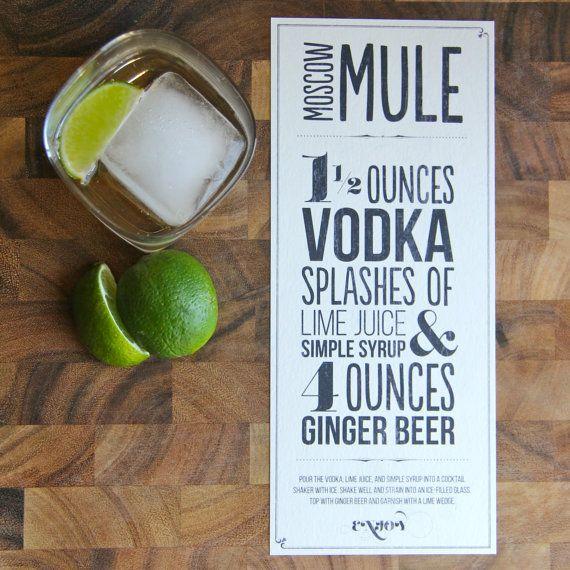 Moscow Mule Recipe Typographic Design For By Designsbykatienoel Tail Cards Copper