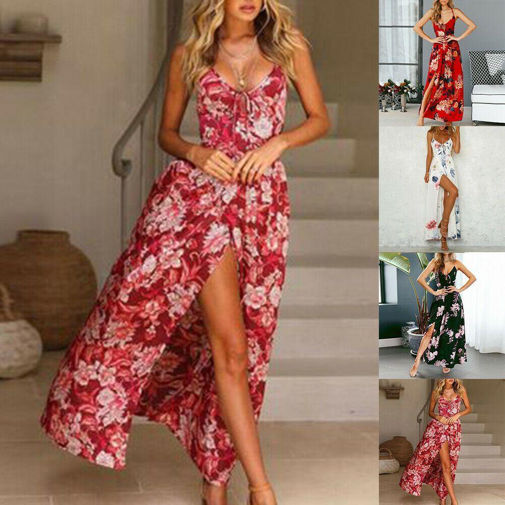 Kleid Blumen Lang Abend Split Kleid Sommerkleid Club Mode ...