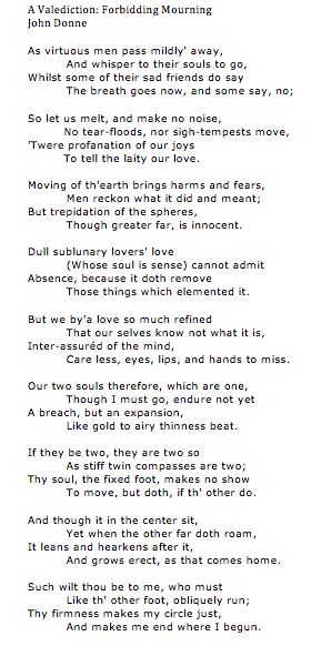 A Valediction Forbidding Mourning By John Donne MY FAVORITE POEM OF ALL TIME 3
