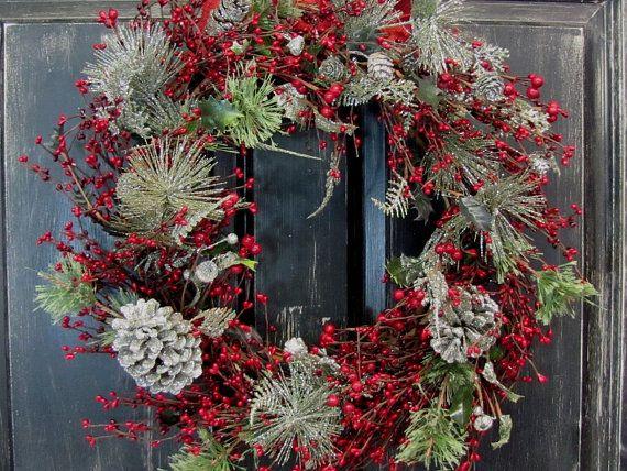 Primitive Christmas Decor Silver  Red Christmas by Designawreath - primitive christmas decorations