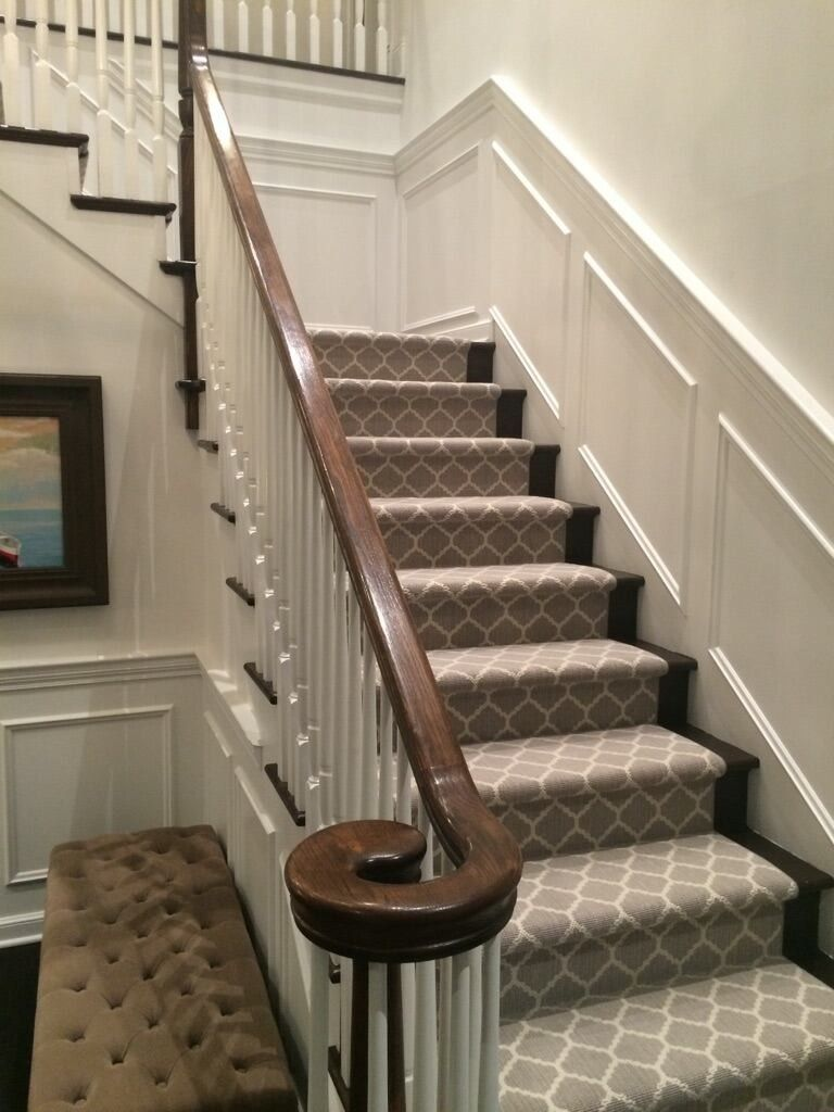 Best Transitional Staircase With Patterned Carpet Runner 640 x 480