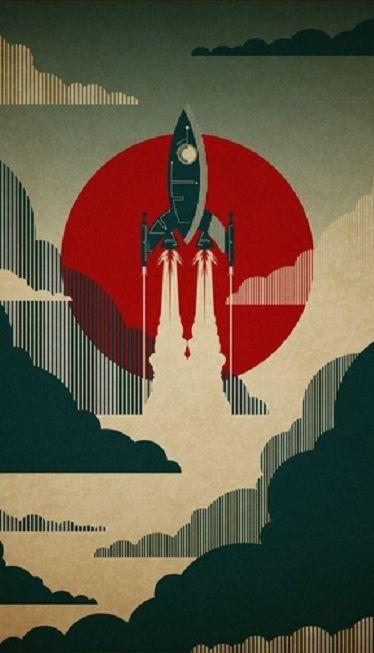 Retro Rocket Phone Wallpaper Poster Art Illustration Art Design Art