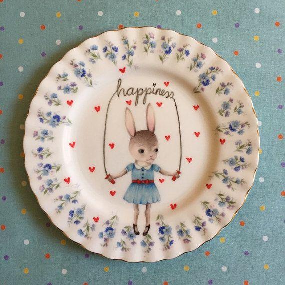 Bunny saltar de felicidad con corazones por thestorybookrabbit