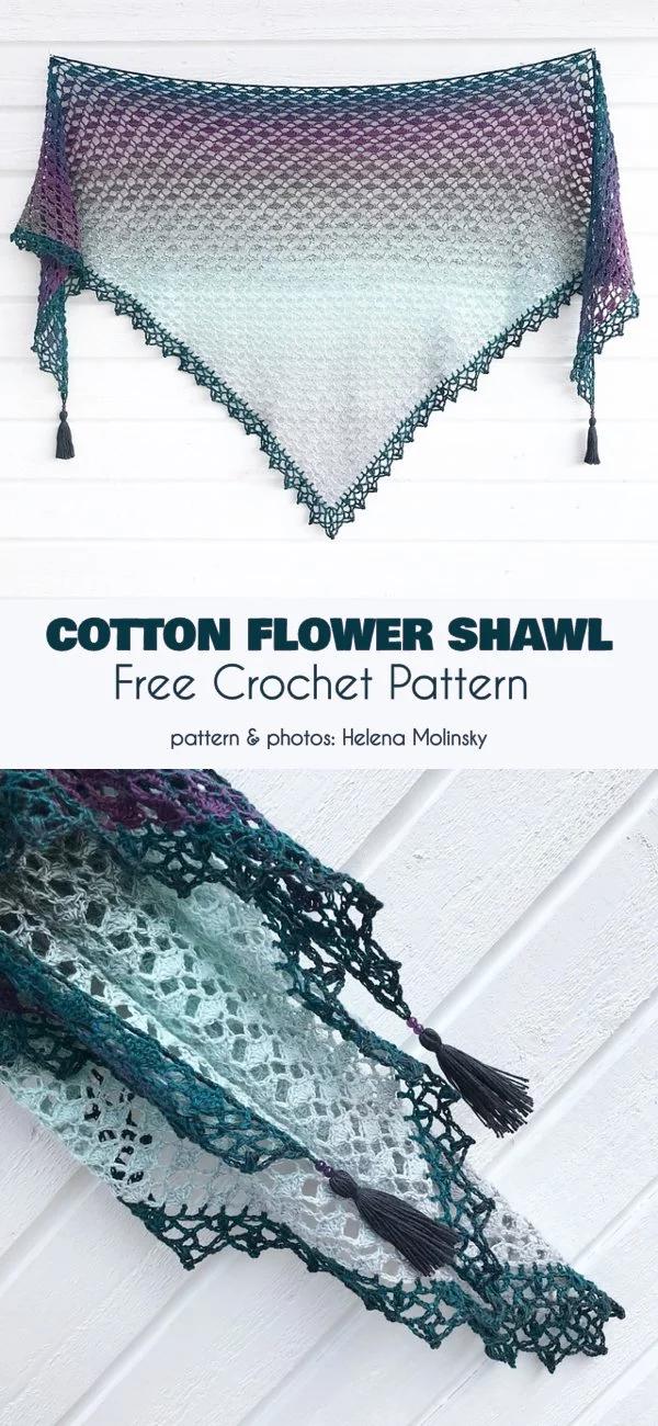 Cotton Flower Shawl Free Crochet Pattern #crochetshawlfree