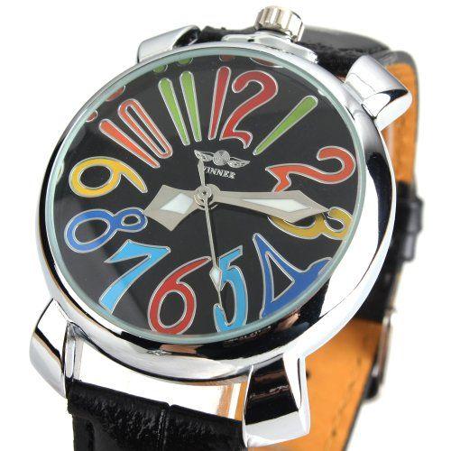 YESURPRISE Fashion Women Colorful Number Leather Auto Mechanical Unisex Wrist Watch Black Silver - http://buyonlinemakeup.com/yesurprise-3/yesurprise-fashion-women-colorful-number-auto