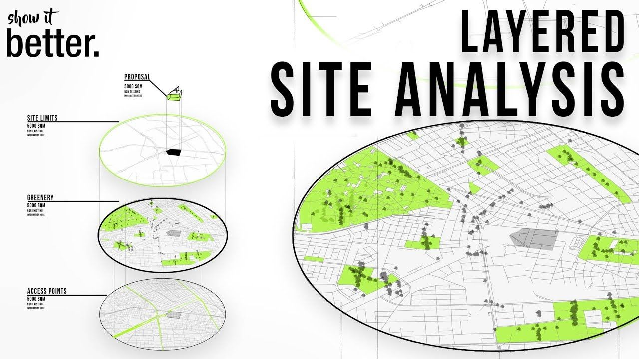 Layered Axonometric Map In Photoshop Site Analysis Architecture