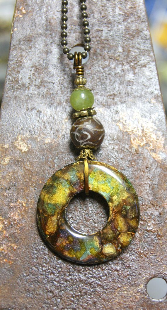 Painted Washer Necklace by kimmykats on Etsy